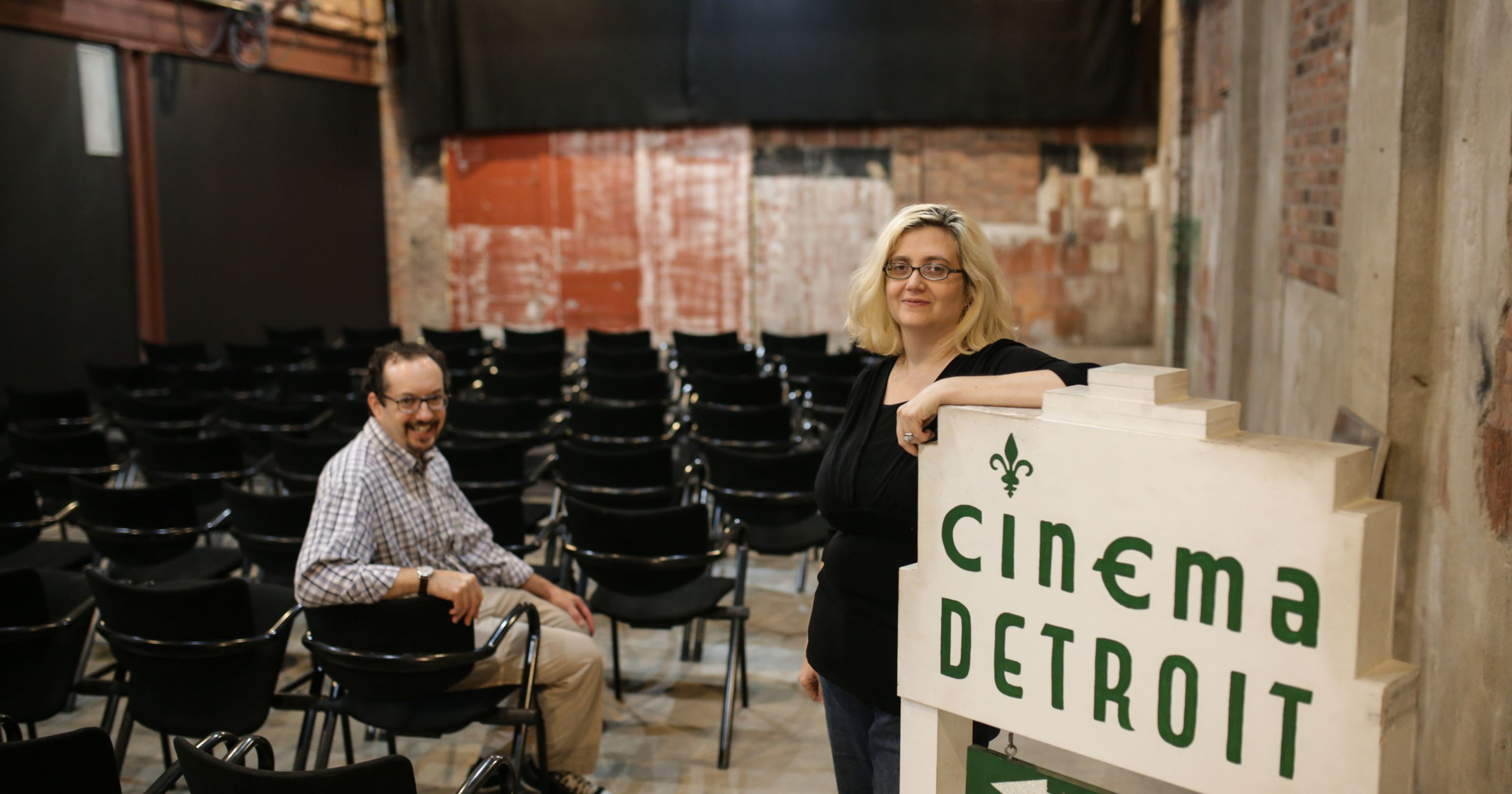 Photo of Cinema Detroit co-owners, Paula and Tim Guthat, by Ryan Garza of the Detroit Free Press