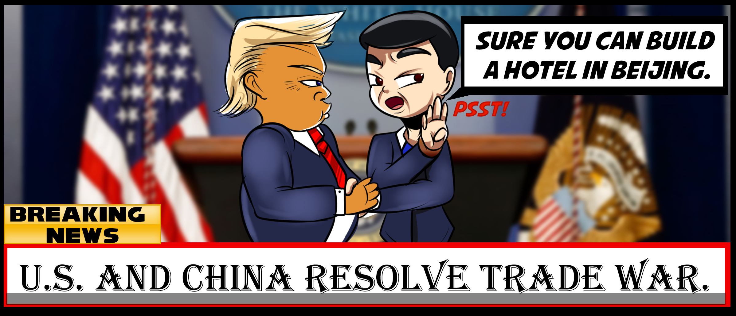 1-panel comic about U.S. and China Trade War