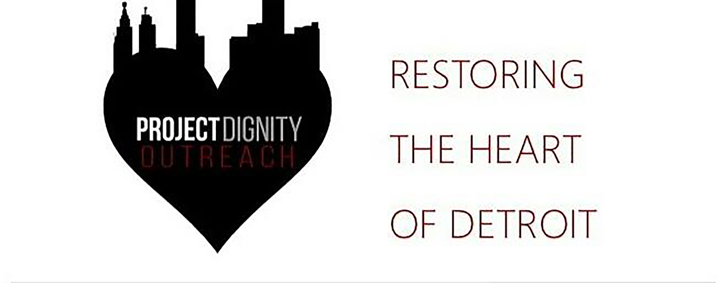 "Illustration of a heart and building above it beside the words ""Restoring the heart of Detroit"""