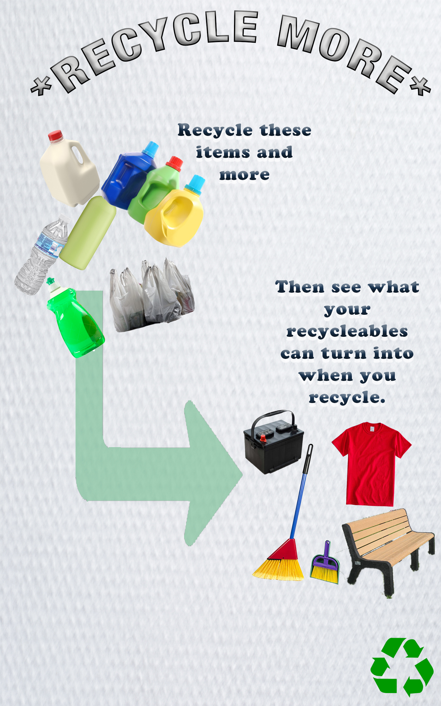 "Graphic emphasizing the need to recycle more. It shows various items such as milk cartons, plastic water bottles and plastic bags. Text next to these items reads, ""Recycle these items and more,"" with an arrow pointing to more items such as a t-shirt, park bench, and broom. The text next to these items reads, ""Then see what your recyclables can turn into when you recycle."""
