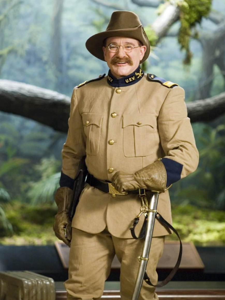 "Robin Williams as President Theodore Roosevelt in ""Night at the Museum Secret of the Tomb"" in final film appearance before his death in 2014 courtesy 20th Century Fox"