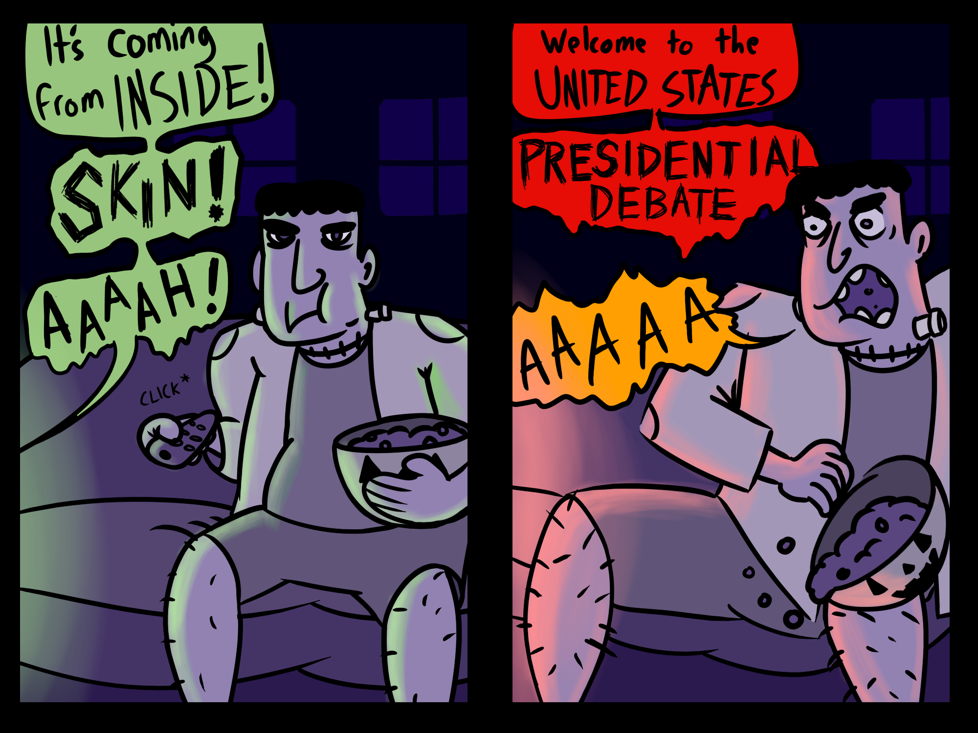 Comic with first cell showing Frankenstein's monster calmly watching a horror movie. Next cell shows Frankenstein's monster scared when TV announces presidential debate.