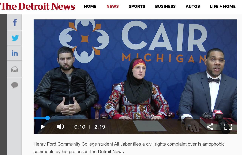 Screenshot of the Detroit News webpage