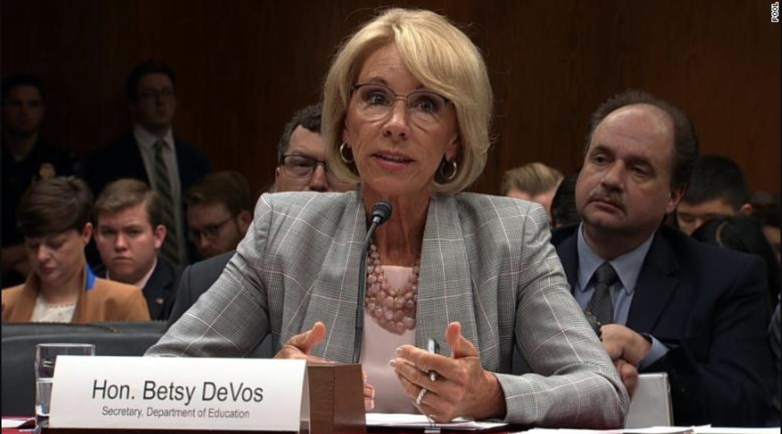 Photo of Secretary of Education Betsy DeVos at a congressional hearing