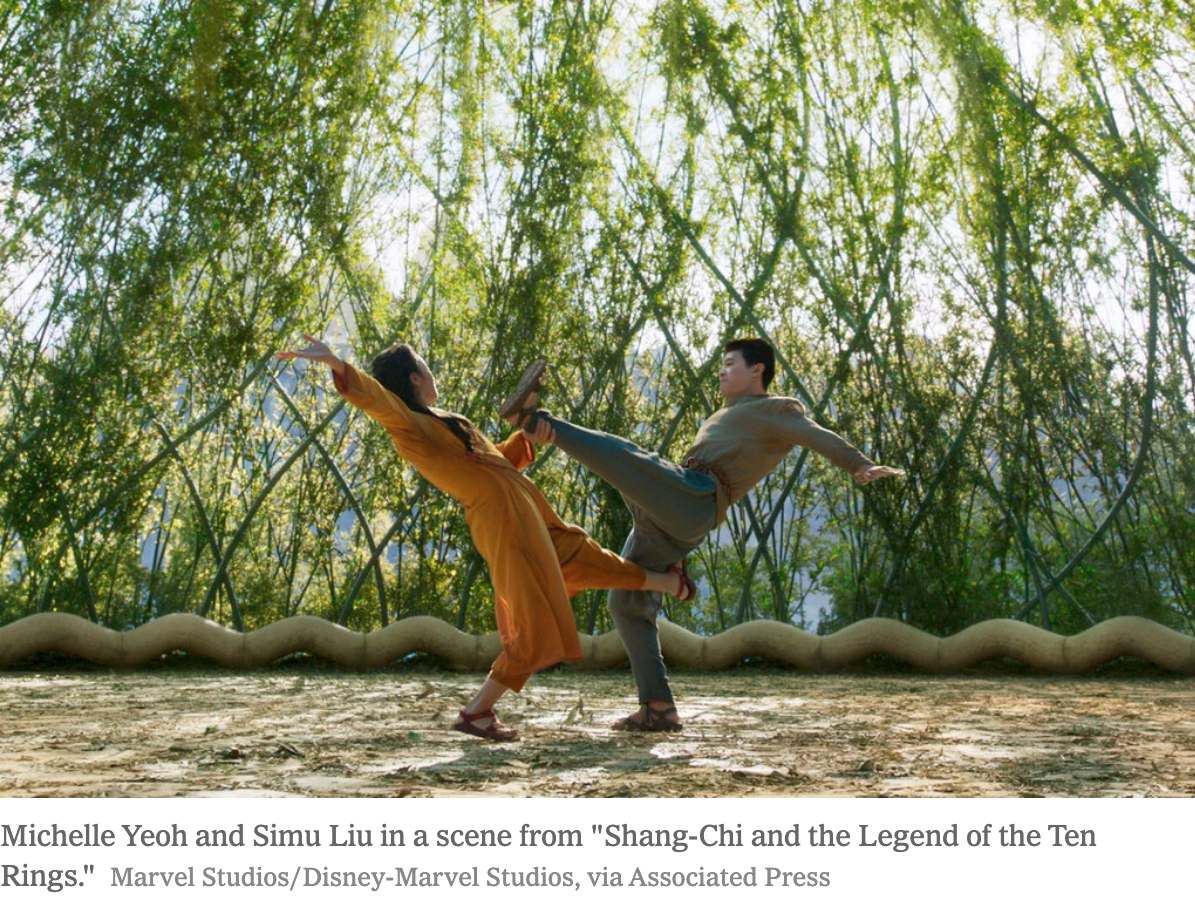 Shang Chi (Simu Liu) and Ying Nan (Michelle Yeoh) in the mystical land of Ta Lo photo courtesy Marvel Studios