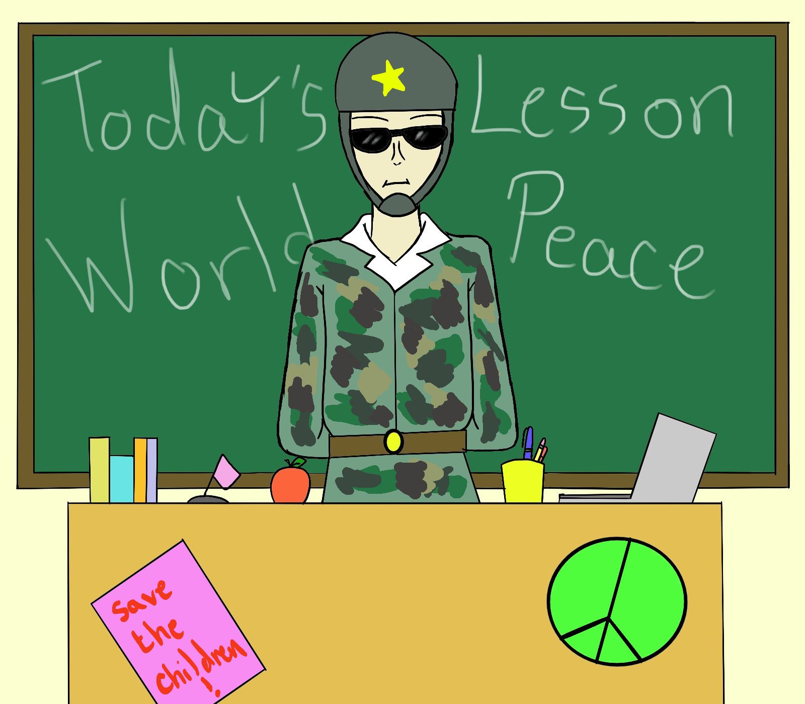 Comic of teacher dressed in camouflage and helmet sitting behind a desk with posters about the class lesson on world peace.