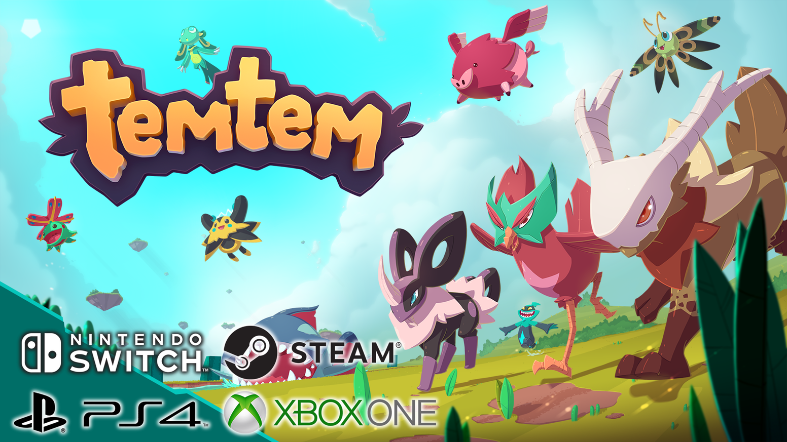 "Promotional image for the game ""Temtem"" showcasing vibrant, colorful Pokémon-inspired creatures"