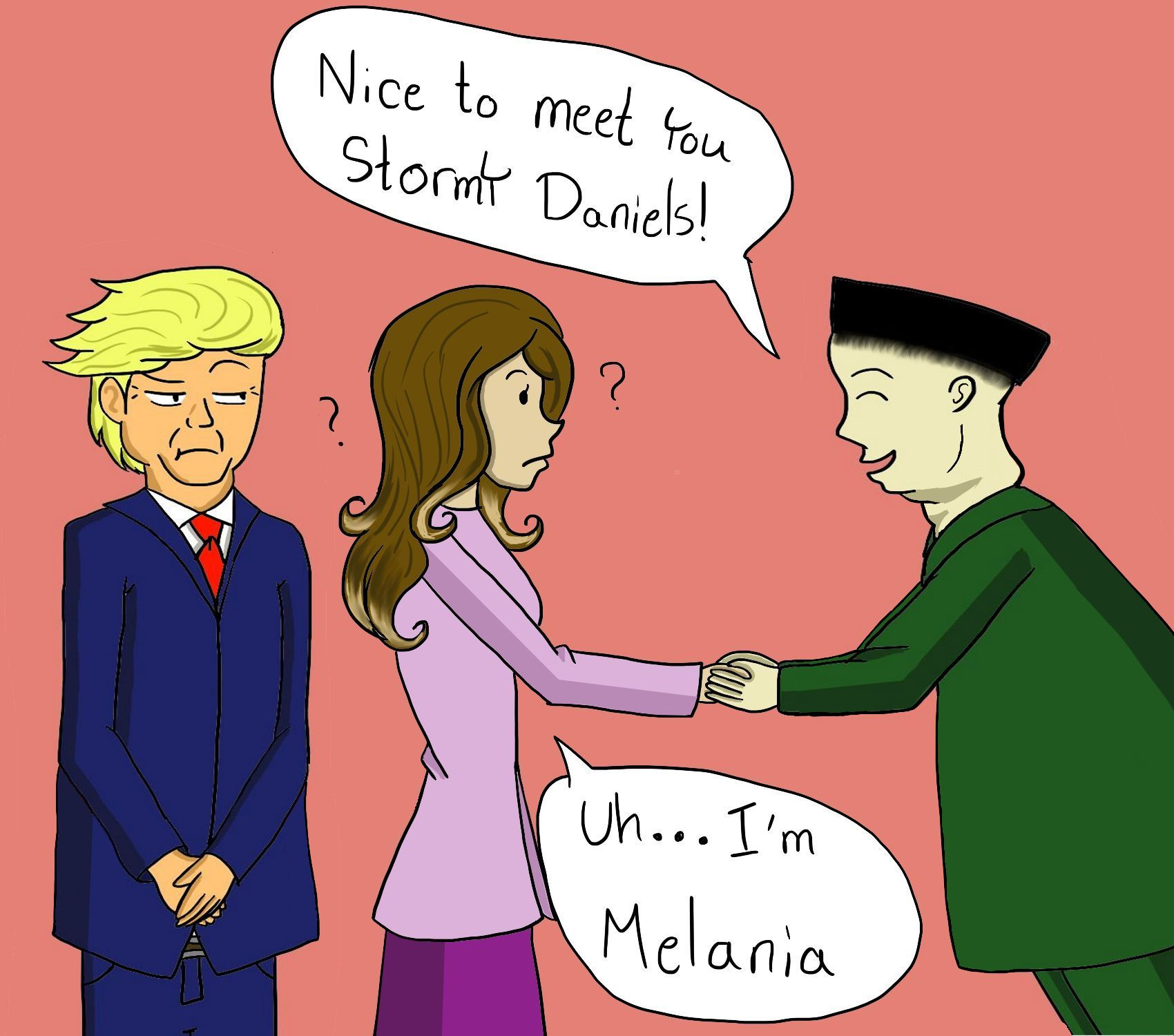 "Comic of President Trump and First Lady Melania Trump meeting North Korean leader Kim Jong-un who says ""Pleased to meet you Stormy Daniels"" to the First Lady."