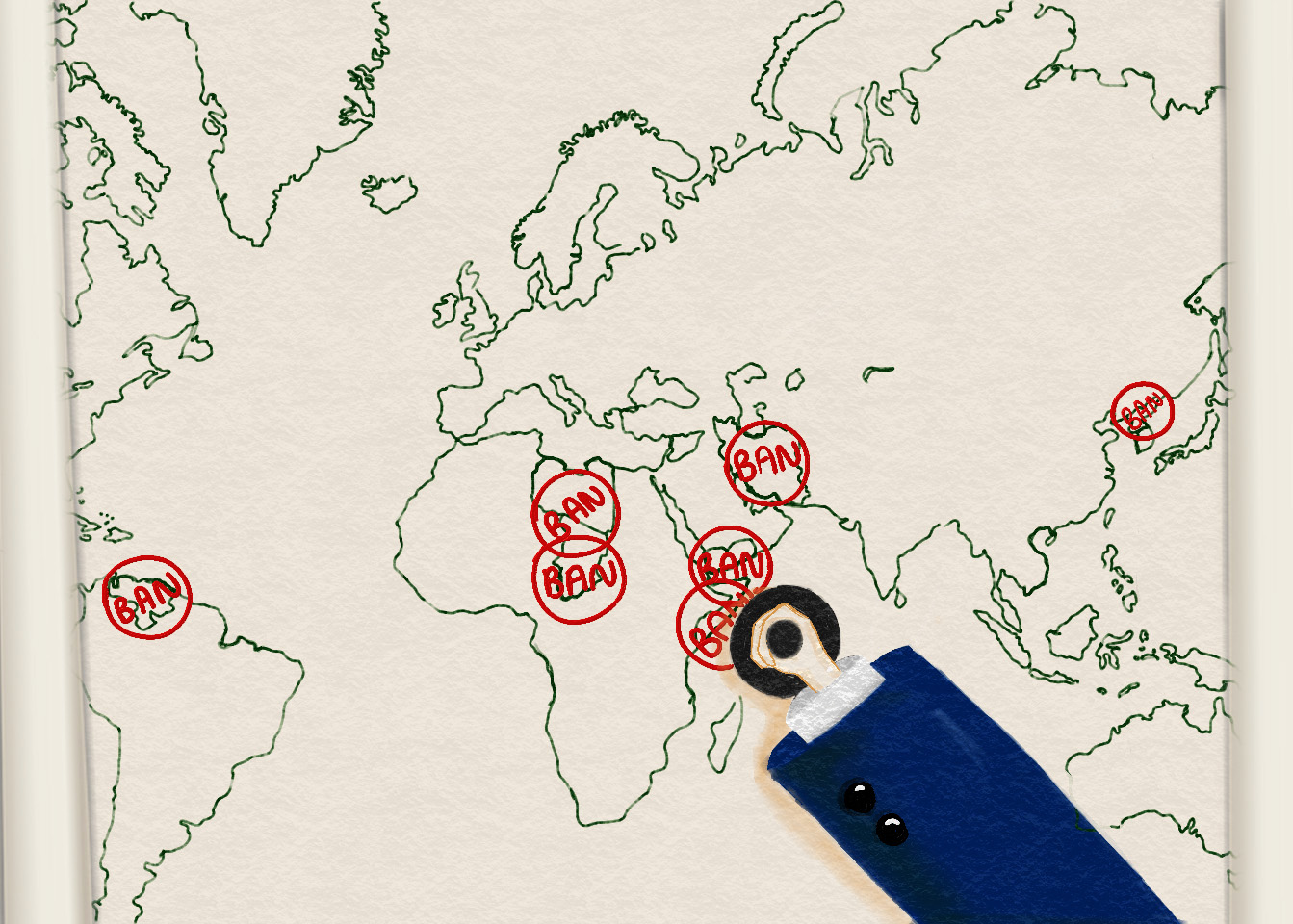 """Map with red ink stamps of the word """"ban"""" over the countries affected by President's Trumps travel ban."""