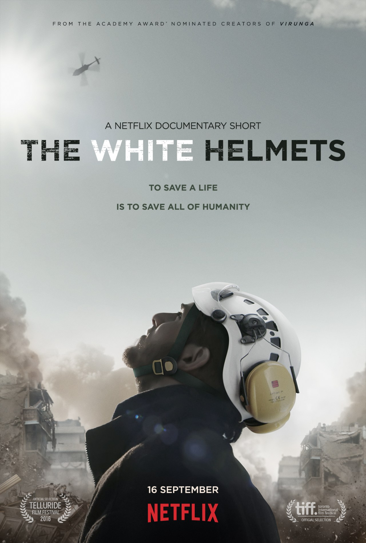 Movie poster for the documentary, The White Helmets.