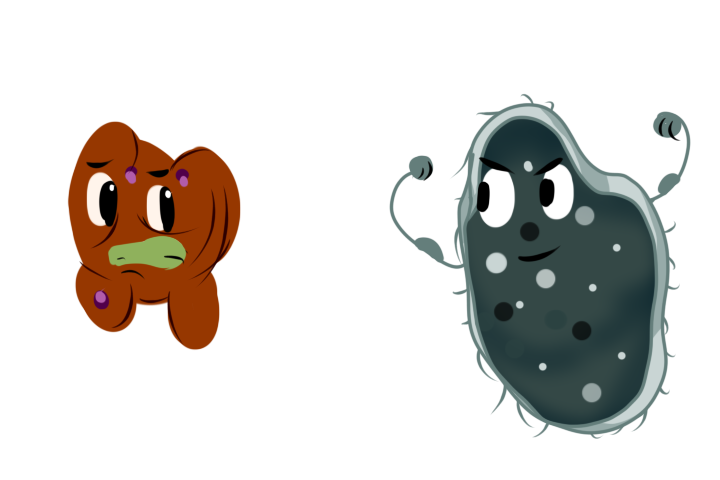 Illustration of a brown blob grimacing at a bacteria who is showing off tiny arms with bulging muscles.