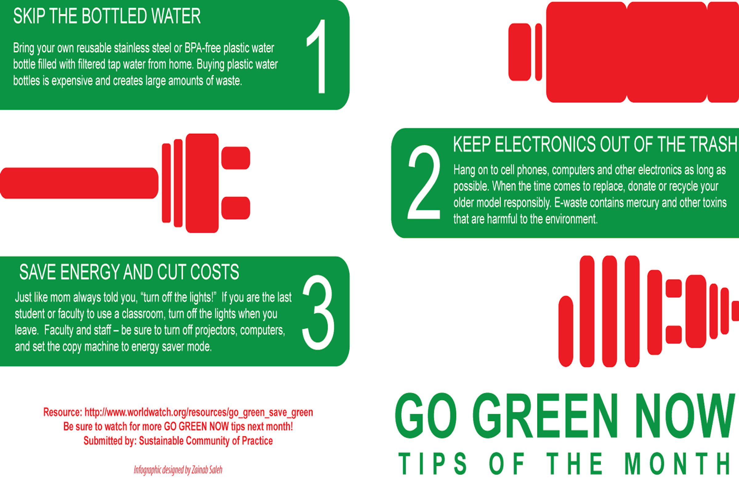 Go Green infographic giving tips on saving energy, recycling, and reuse.