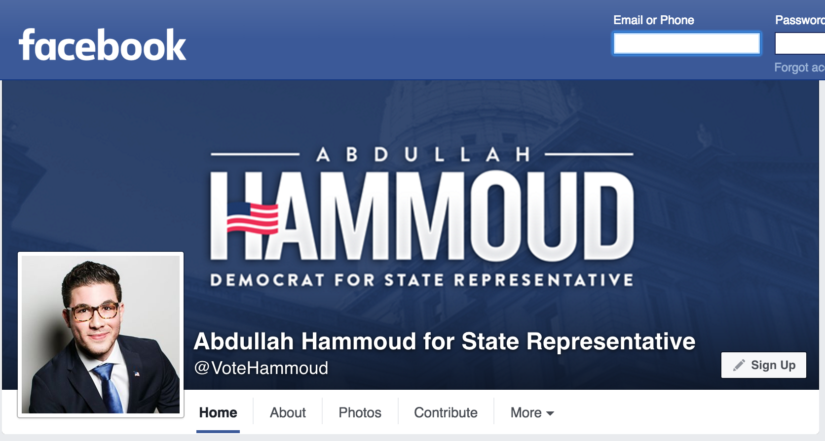 Screenshot of Abdullah Hammoud for State Representative Facebook page