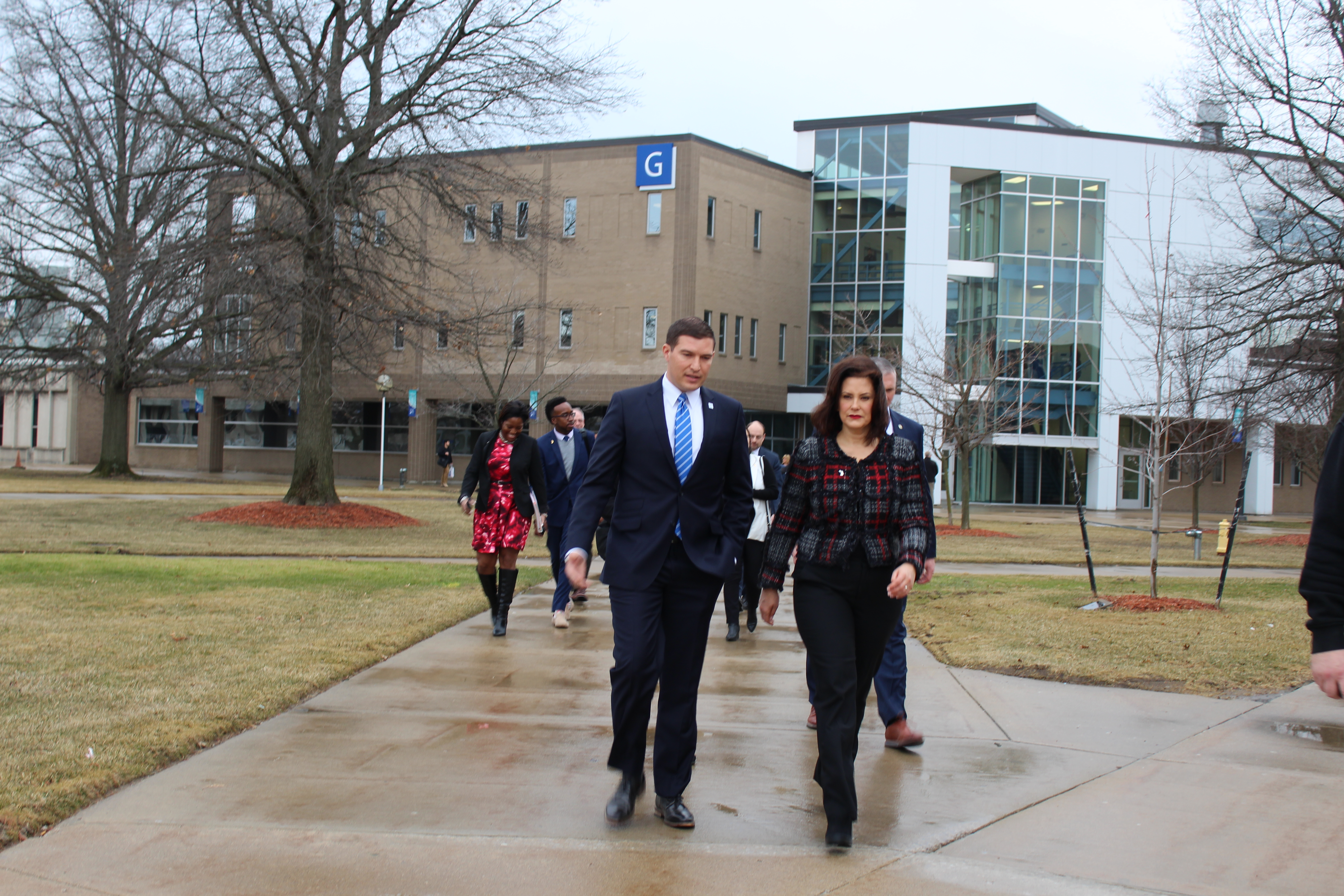 Henry Ford College President Russell Kavalhuna (left) with Governor Gretchen Whitmer (right) at Henry Ford College, Dearborn, MI, March 14, 2019 photo by Fatima Nkata