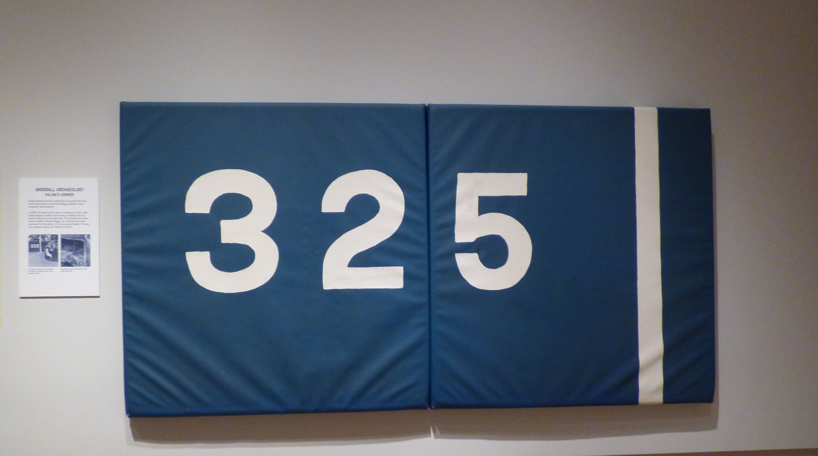 "Photo of padding from Tigers' Stadium reading ""325"""