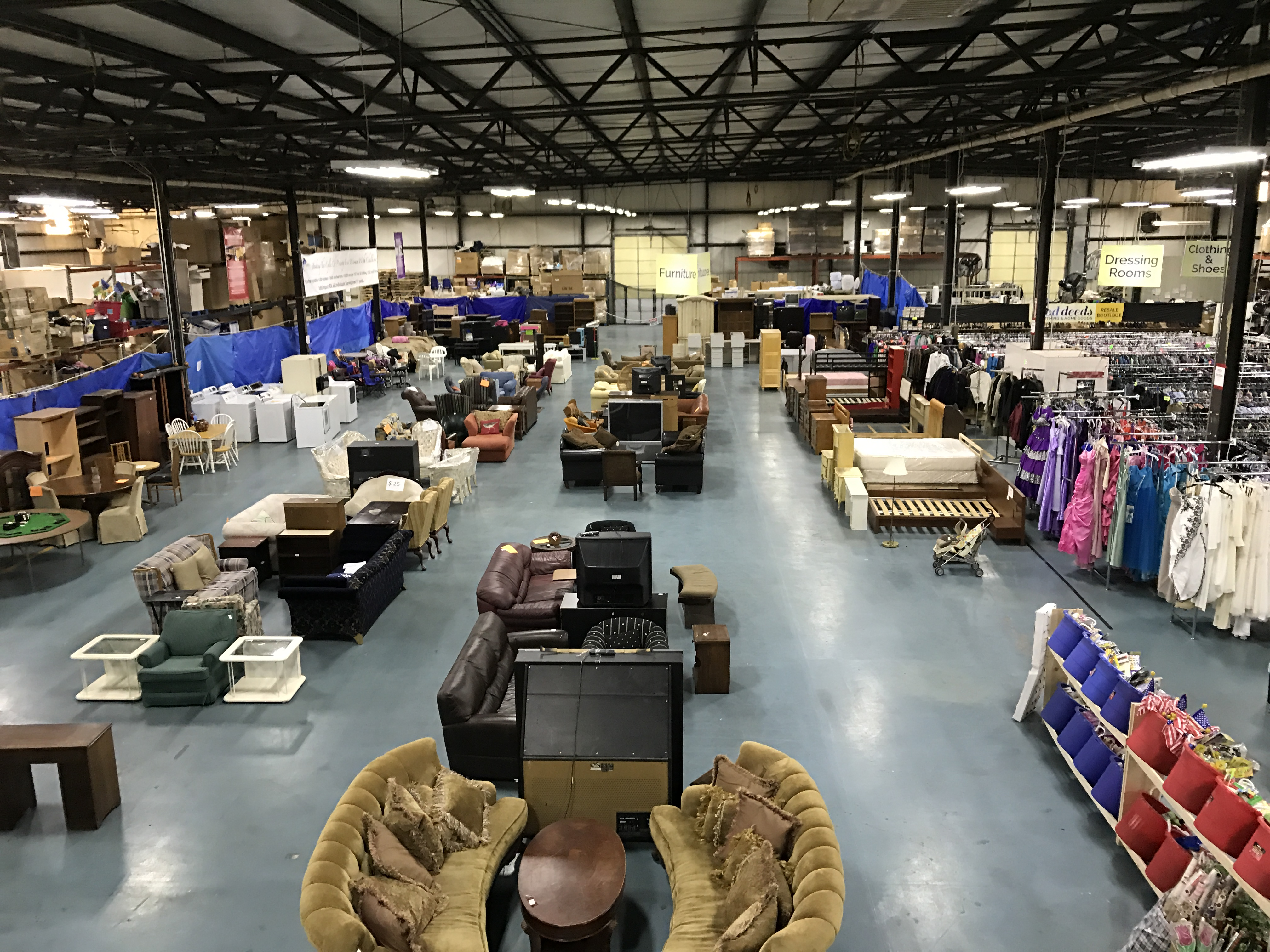 Overhead shot of Zaman International's warehouse showing furniture and boxes.