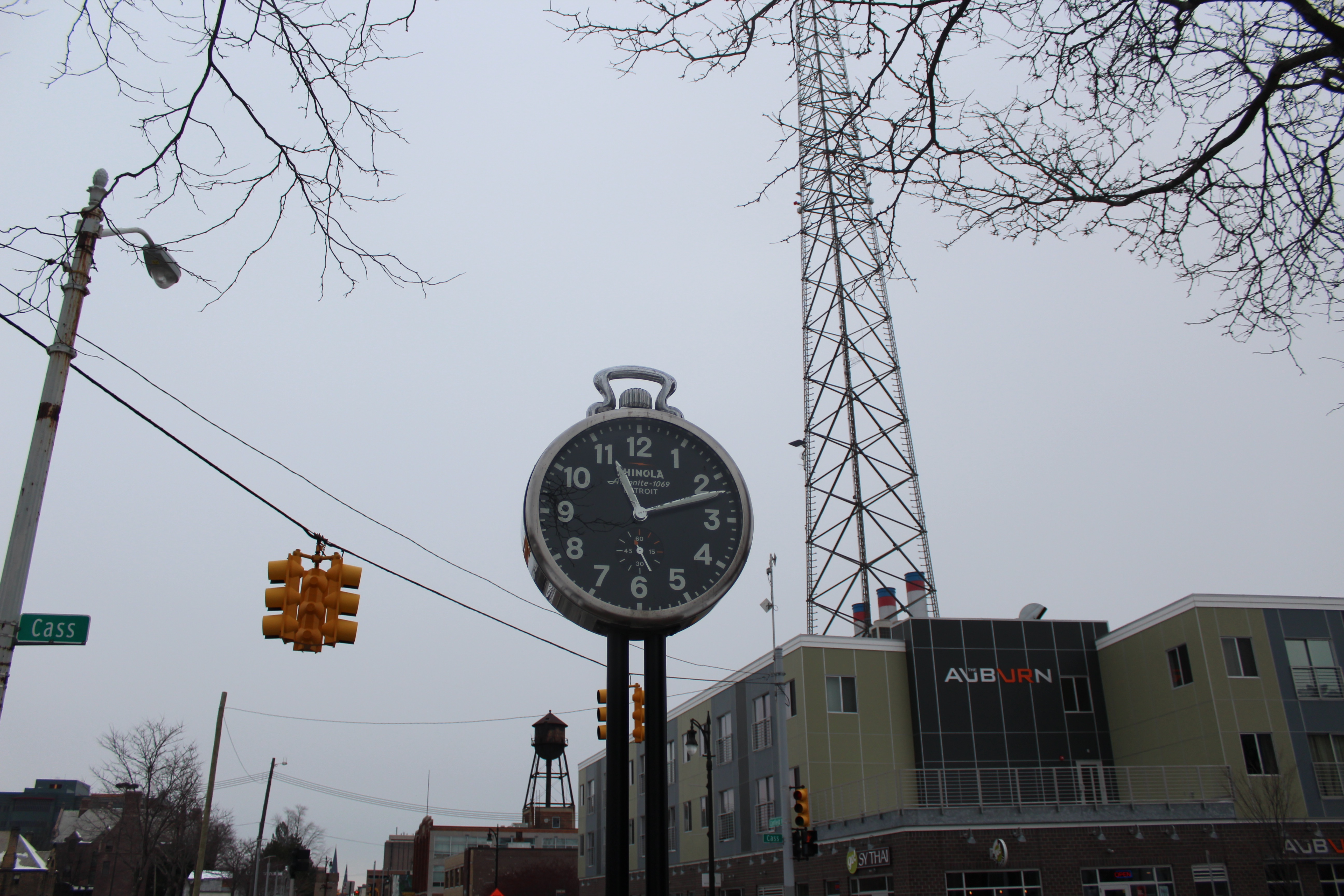 Shinola clock at the Shinola dog park in Midtown Detroit.