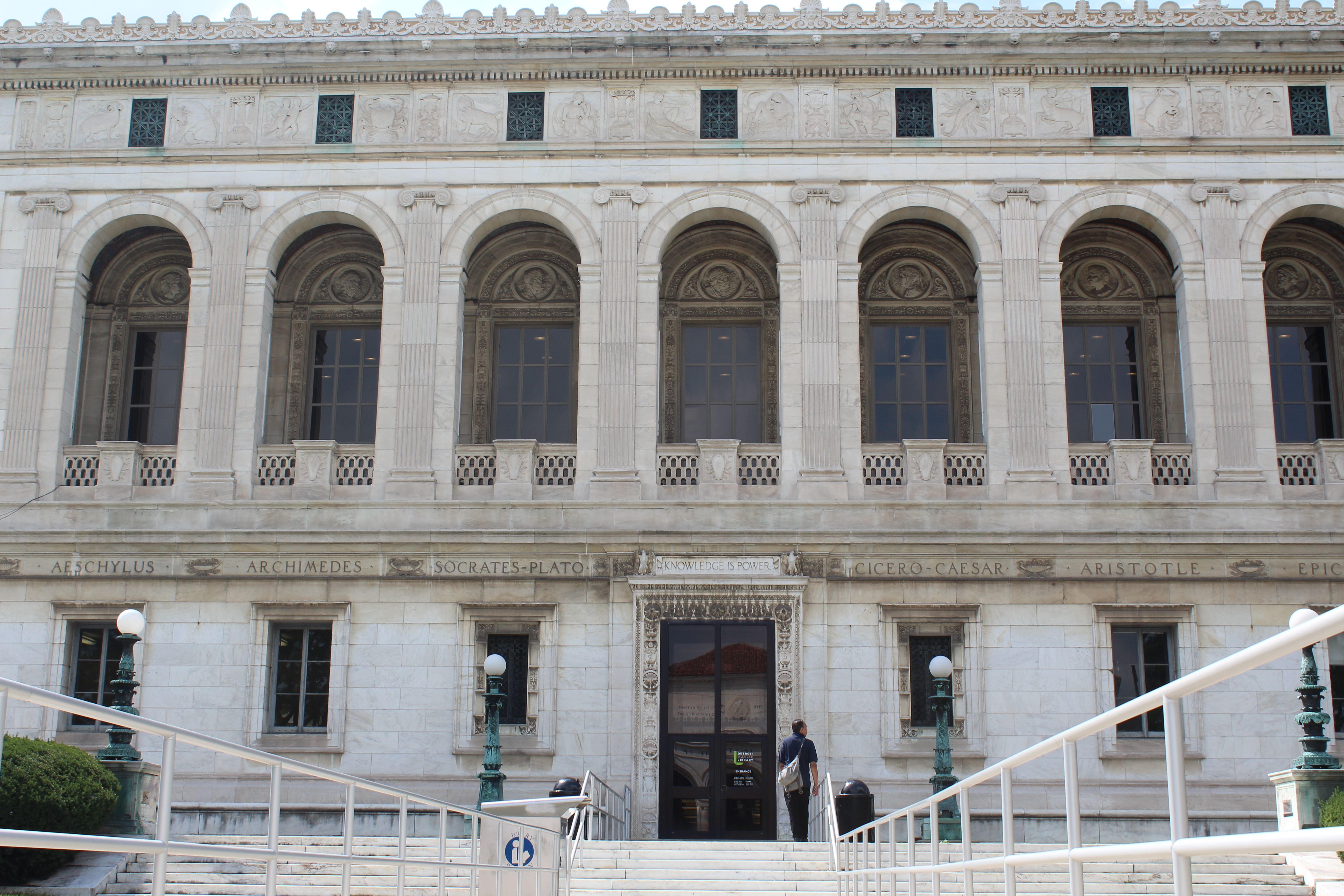Photo of outside of main branch of the Detroit Public Library