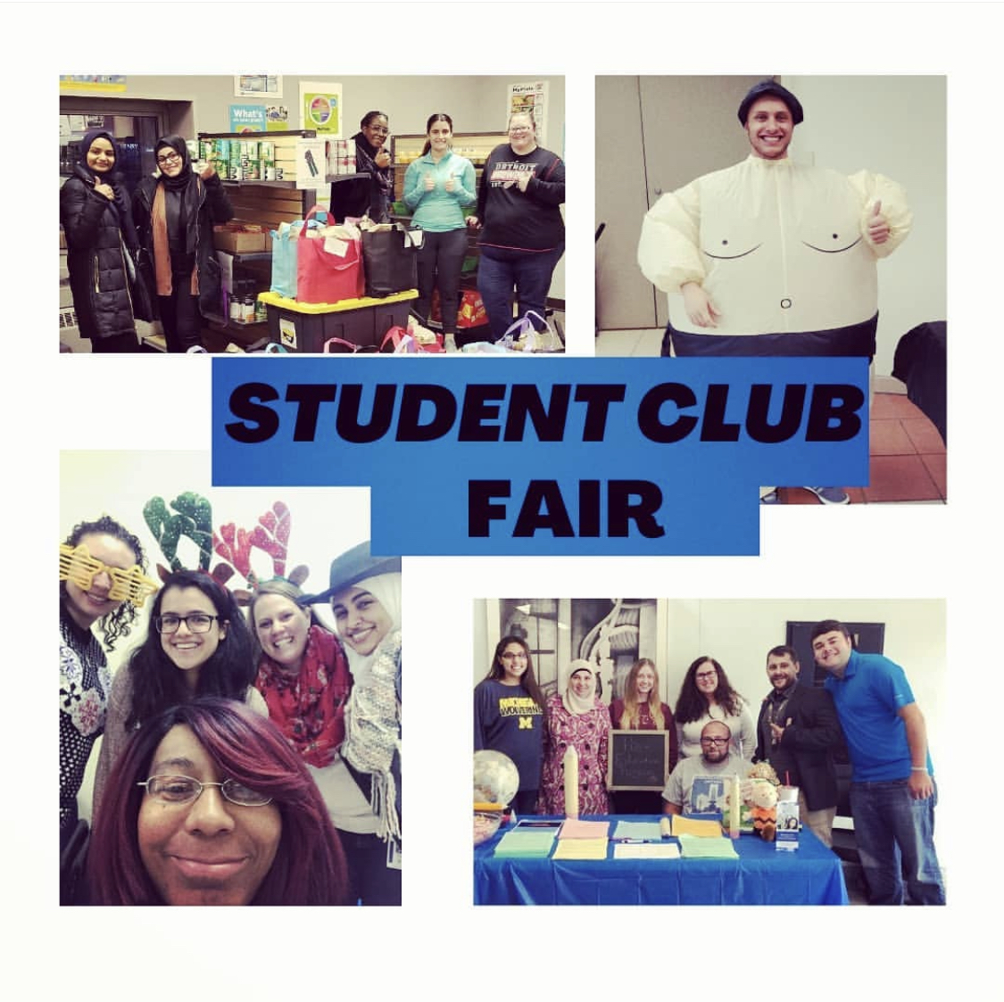 Graphic Advertising the Virtual Student Club Fair on September 15, 2020 featuring  Various HFC student clubs