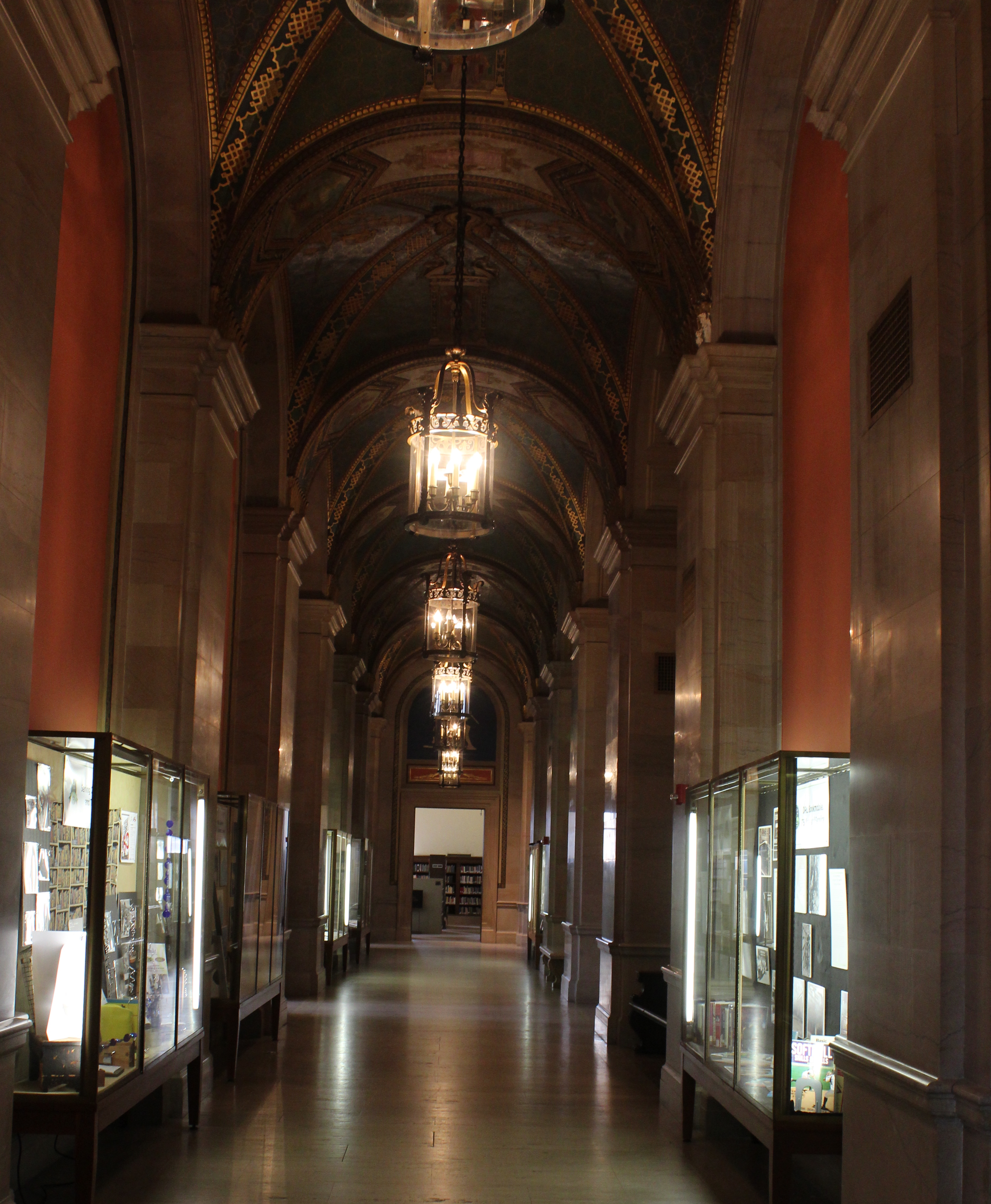 Photo of high ceiling hallway in historic main branch of the Detroit Public Library.
