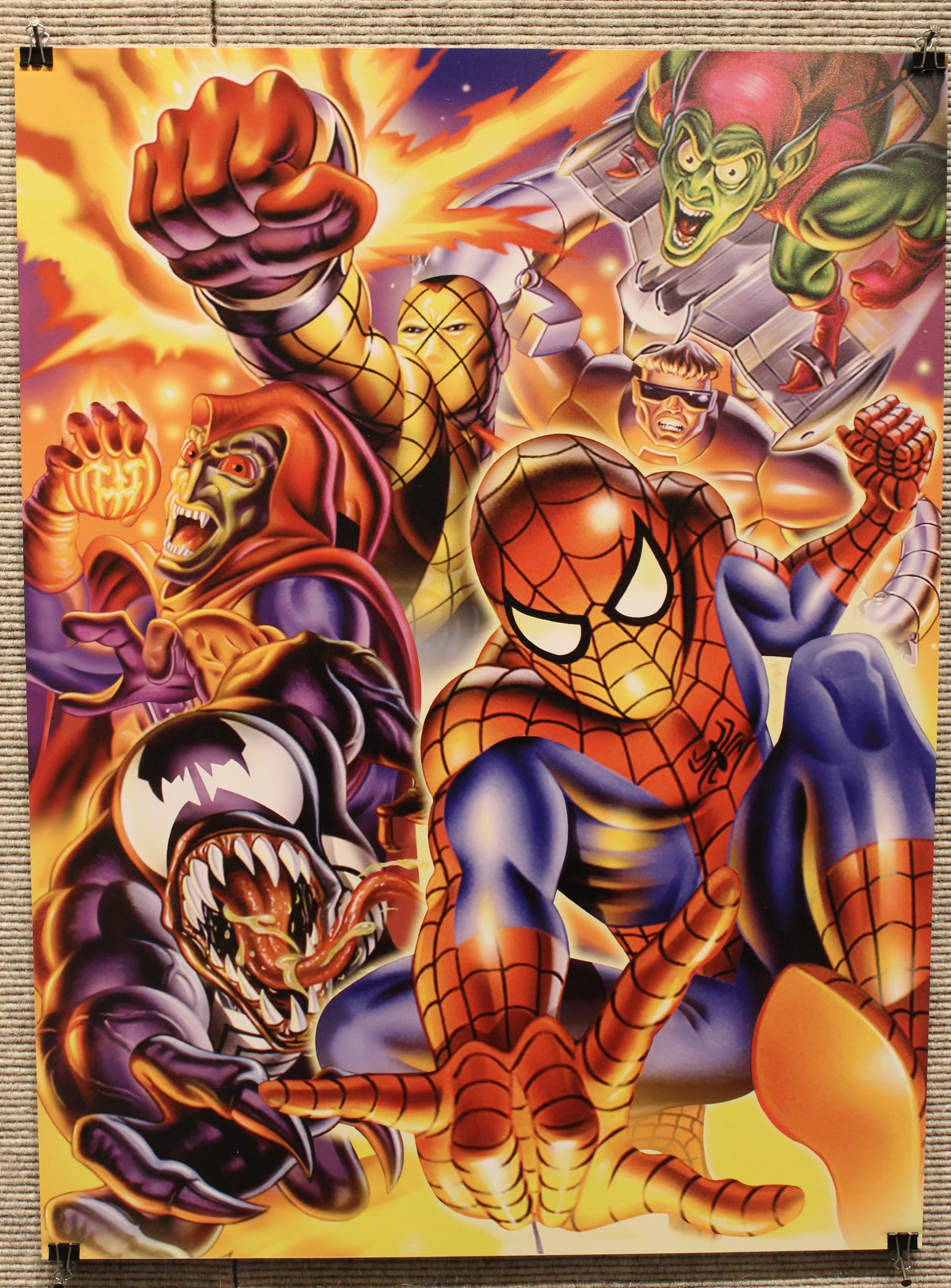 Image of a Marvel cards montage featuring Spider-Man, Venom, the Green Goblin, and other Marvel characters