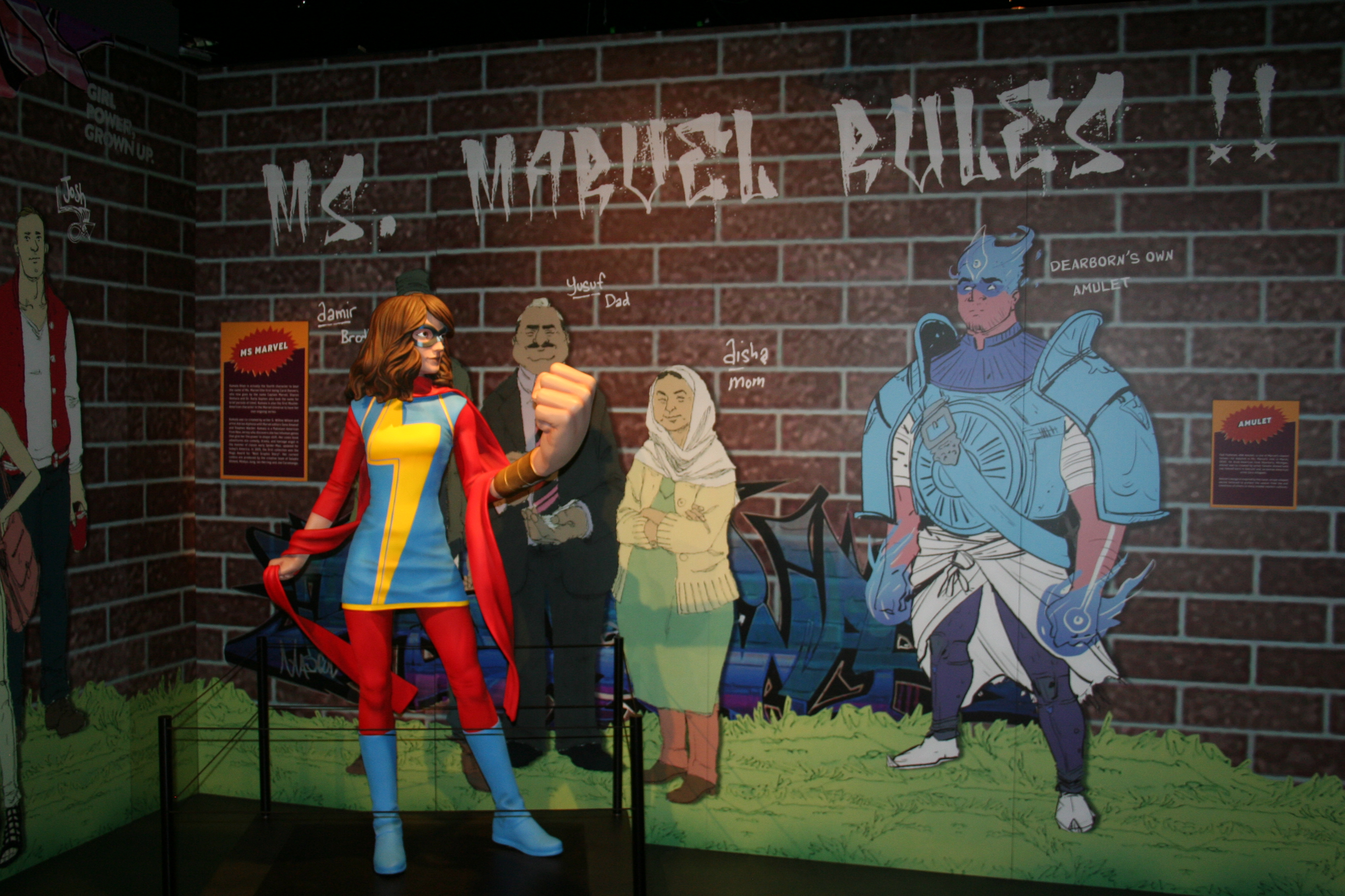 Ms. Marvel exhibit Marvel Universe of Superheroes Henry Ford Museum of Innovation Dearborn MI