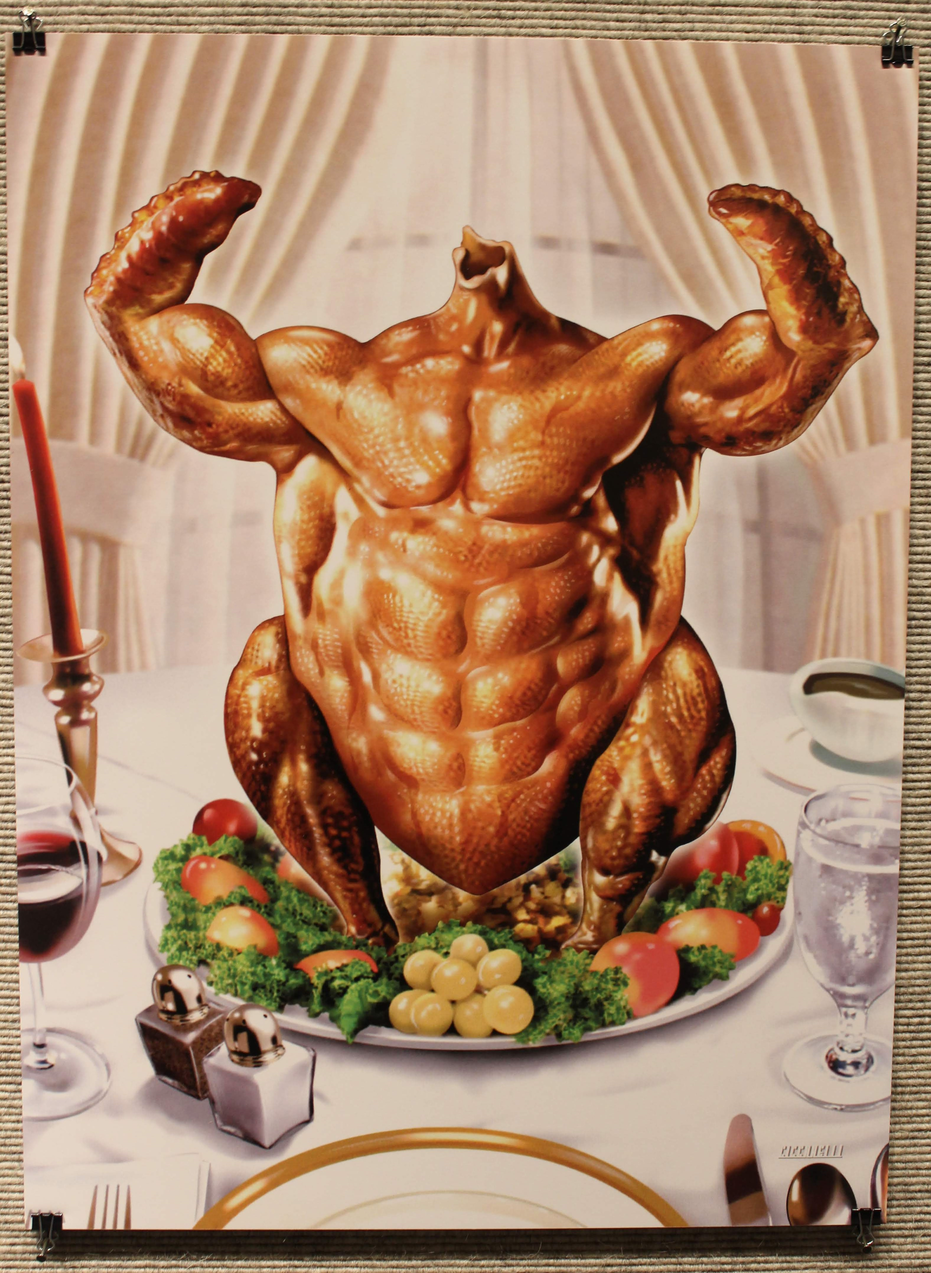Image of a flexing, muscular turkey