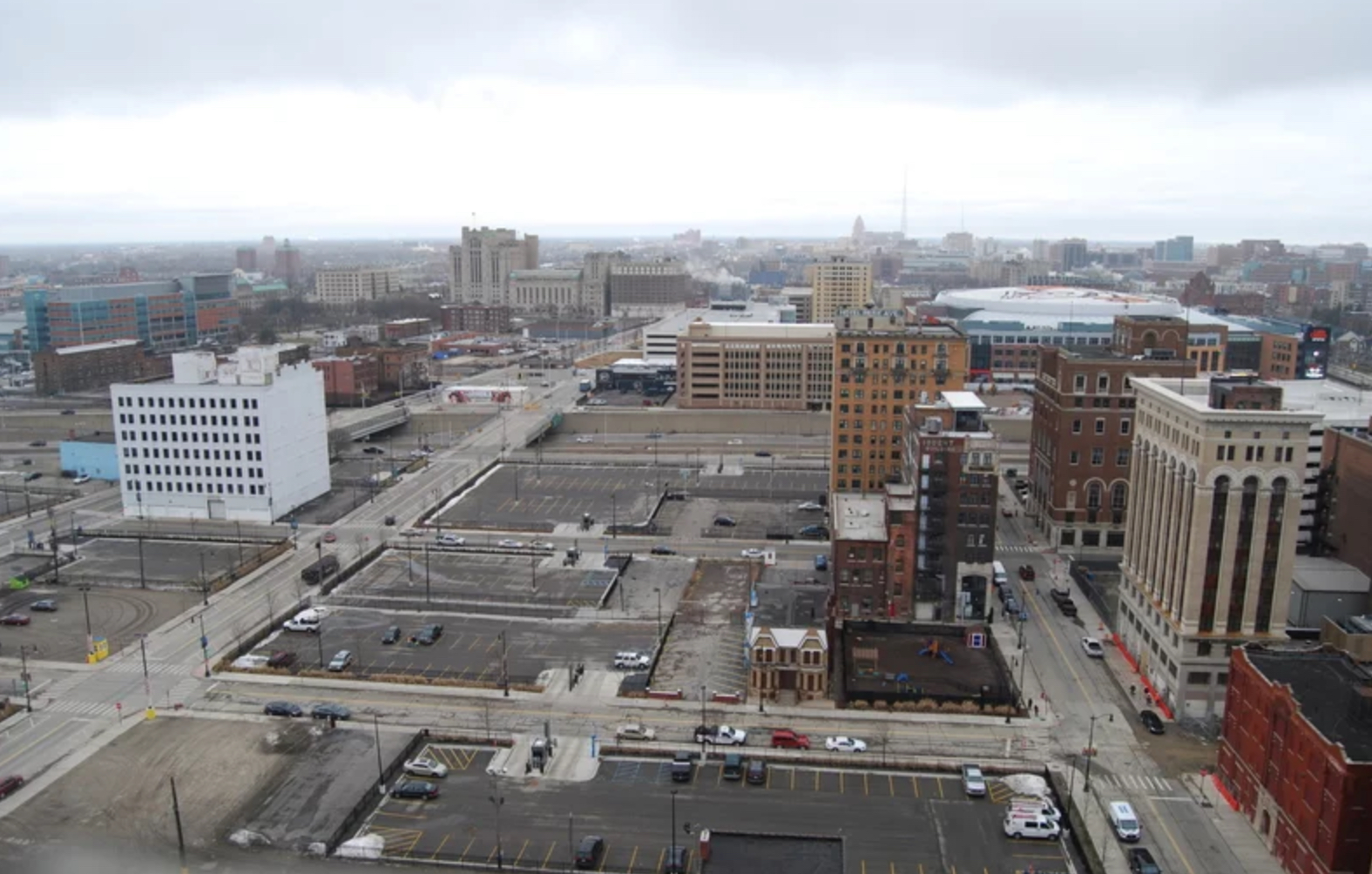 The current view of the planned District Detroit area