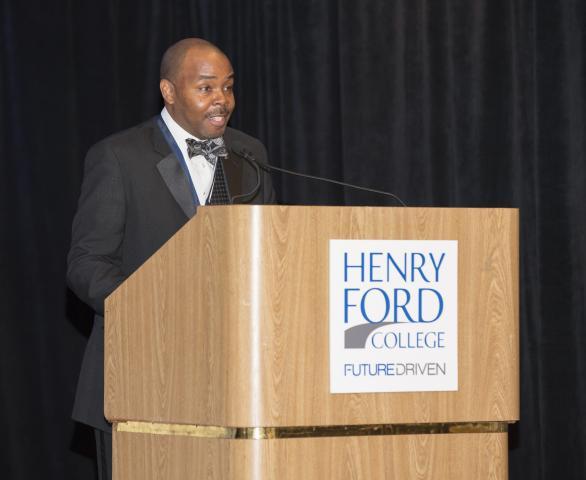 Rayford McKinstry gives an acceptance speech
