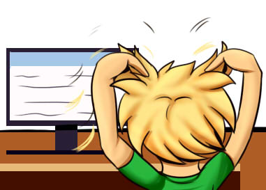 Illustration of student pulling out hair in front of a computer screen.