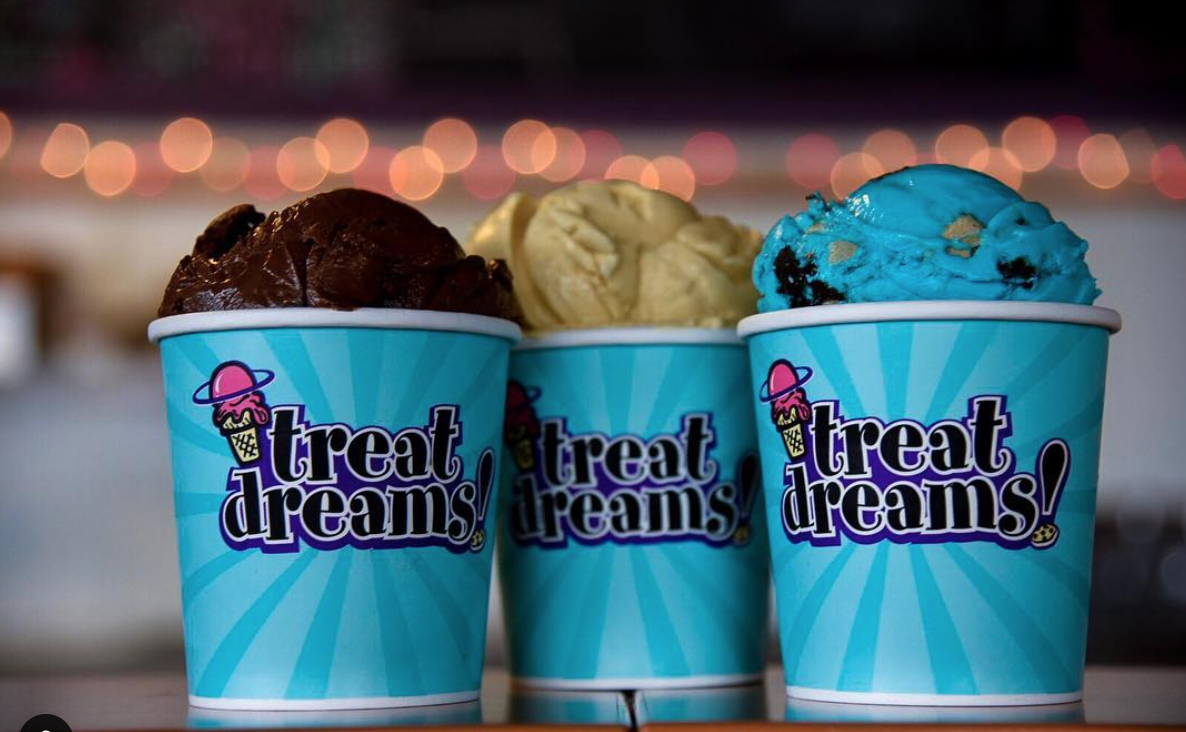 Photo of three ice cream desserts from Treat Dreams