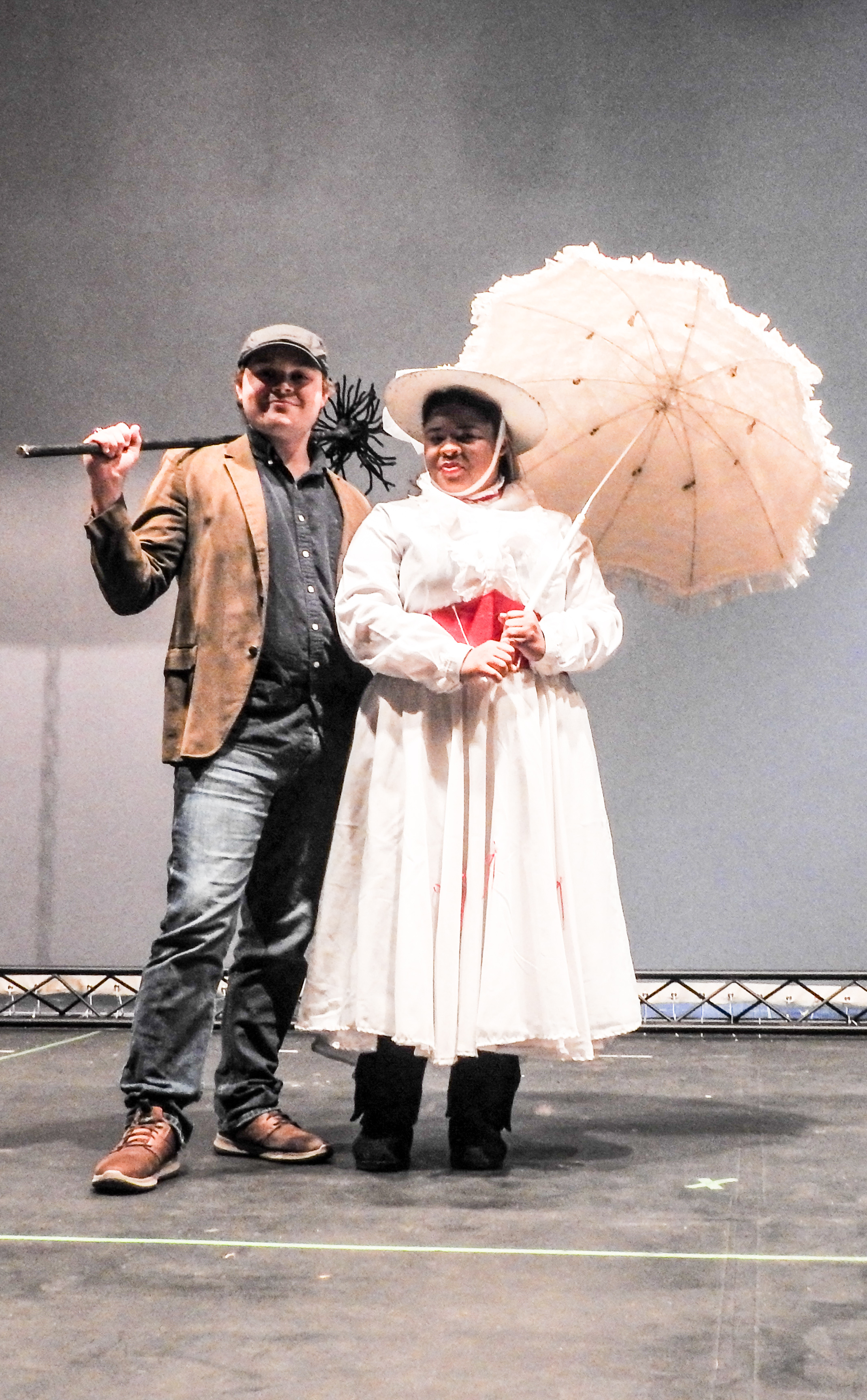 Seth Grube playing Bert and and Kennedy Cooper as Mary Poppins