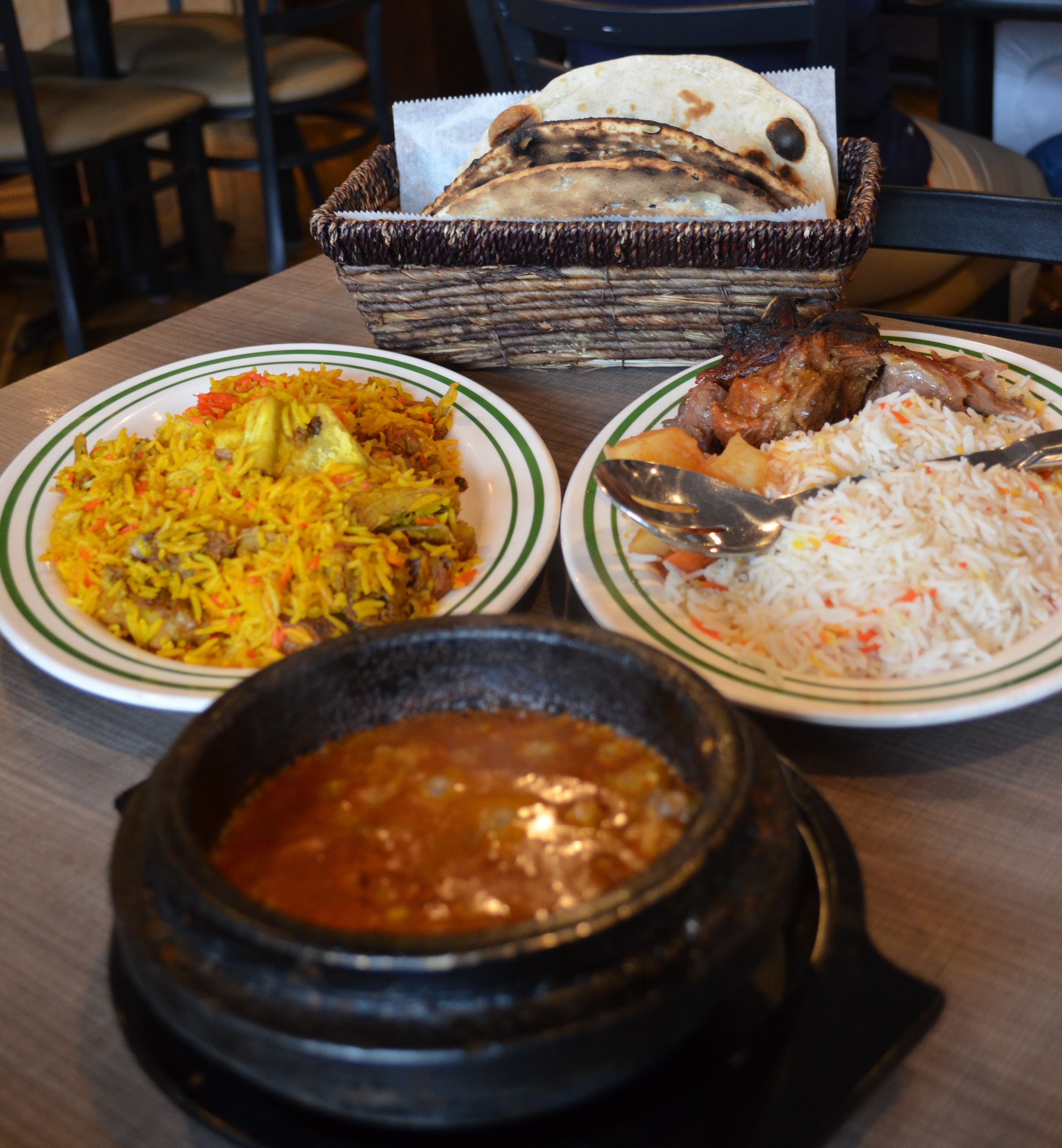 Photo of fahseh, lamb, and rice dishes.