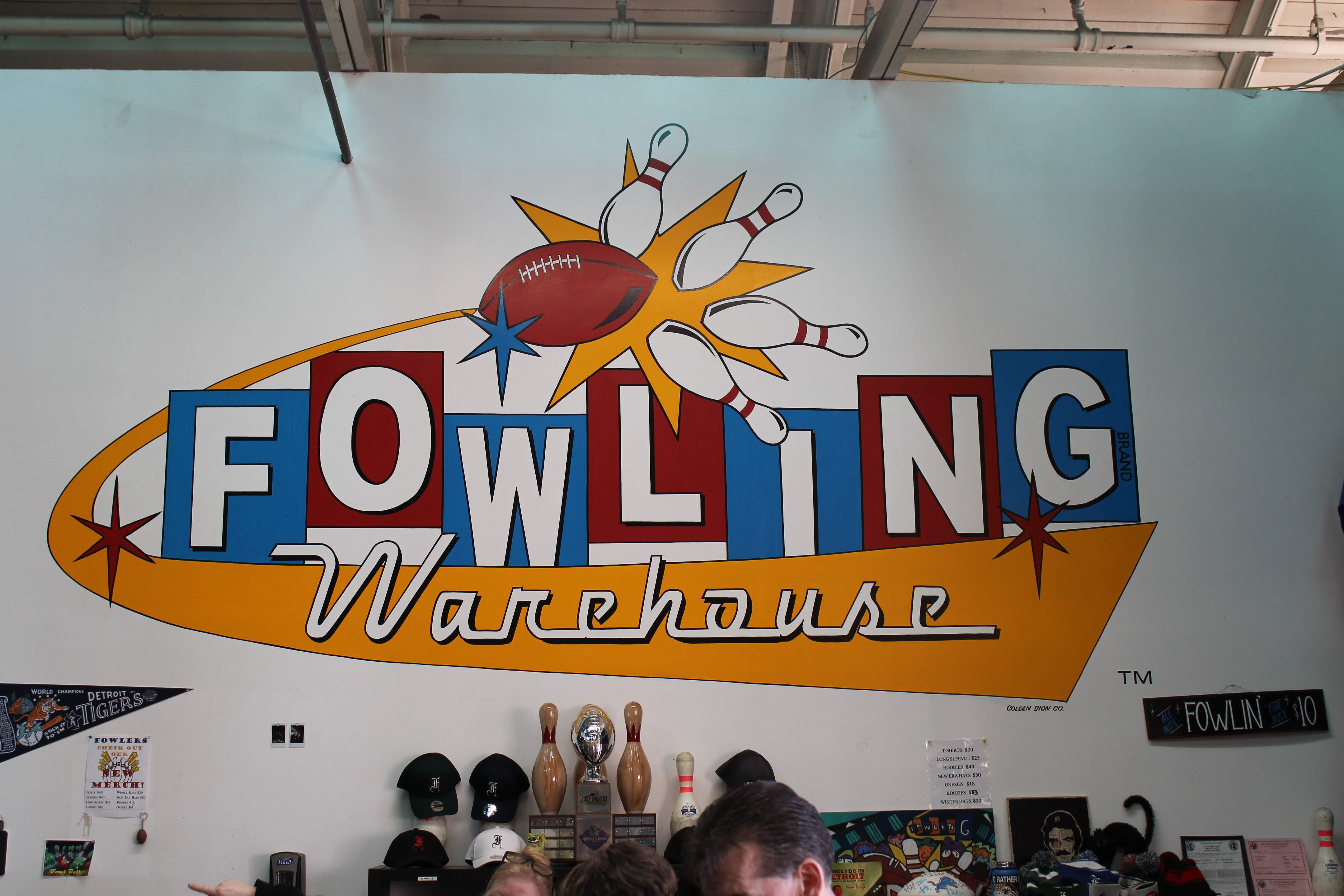 Photograph of the sign at the Fowling Warehouse