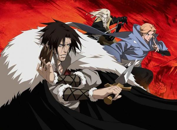 Image shows main characters from the show Castlevania