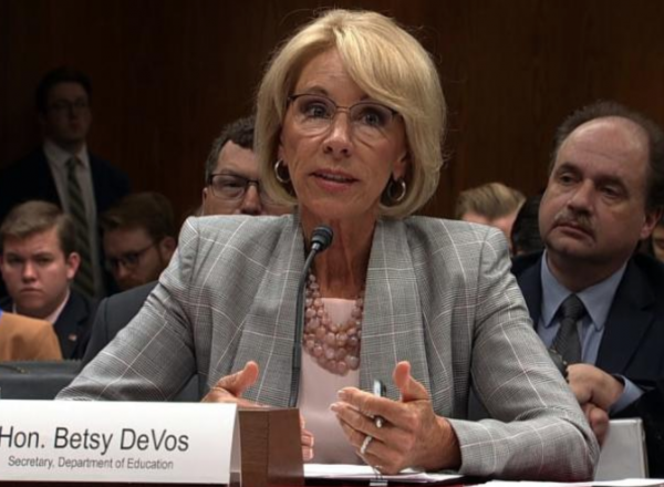 Photo of Secretary of Education Betsy DeVos at a congressional hearing