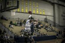 HFC Hawks basketball player Kiewuan Graham making a dunk