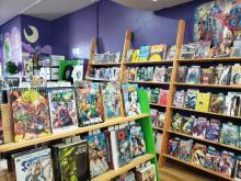 Shelves of comic books at Green Brain Comics in Dearborn, Michigan