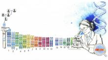 Graphic showcasing a scientist looking at DNA results