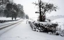 Snow-covered street in winter