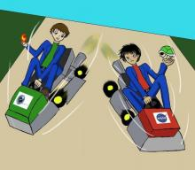 Comic of two Mario karts with the logo for Virgin corporation on one car and the logo for NASA on the other car