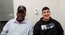 Photograph of Army Veteran Ed Stokes and Marine Veteran Student Jeremiah Flores