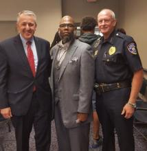 Photo of David P. Gelios, FBI, Kalvin Harvell, HFC Sociology Instructor, and Dearborn Heights Police Chief, Lee Gavin