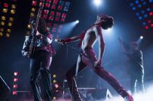 "Movie still of Rami Malek as Freddie Mercury in ""Bohemian Rhapsody"""