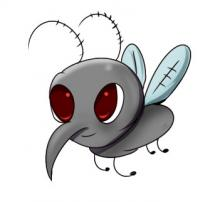 A cartoon caricature of a mosquito.