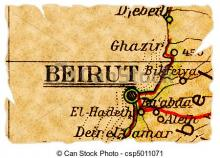 Old map showing Beirut among other coastal towns on the shore of Lebanon from Can Stock Photo.