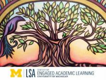 Image shows the logo for the University of Michigan's Center for Engaged Academic Learning, which features a bird sitting on a tree