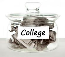 "Glass jar with money inside and label ""college"""