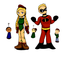 An illustration of two people. One dressed as a super hero, one dressed as a female street fighter video game character. People look on from the background.