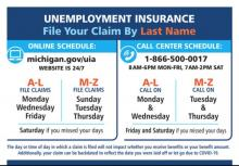 Graphic outlining steps to applying for unemployment in Michigan